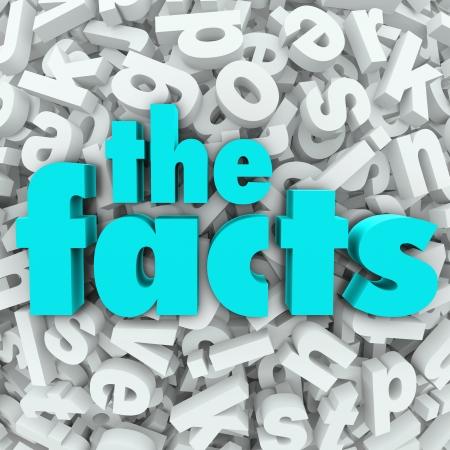 De feiten 3d woorden op achtergrond van brieven aan een zoektocht naar informatie en gegevens illustreren