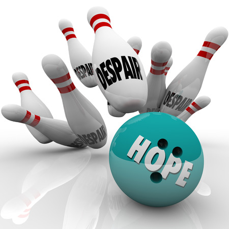 conquering: Hope bowling ball strikes pins with word Despair to illustrate conquering doubt with strong faith in yourself or a higher power, confidence in your abilities and fate Stock Photo