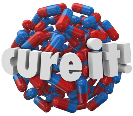 treating: Cure It words on a ball or sphere of pills, capsules or prescription medicine to illustrate treatment for an illness, sickness, disease or other medical problem or issue Stock Photo
