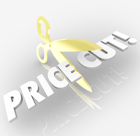 cut price: Price Cut words cut by scissors to illustrate a discount, rollback, sale, clearance or other special promotional offer on goods or services by a store or online retail shop