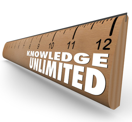 unlimited: Knowledge Unlimited words on ruler to illustrate boundless intelligence, smarts, learning and education to reach your full potential
