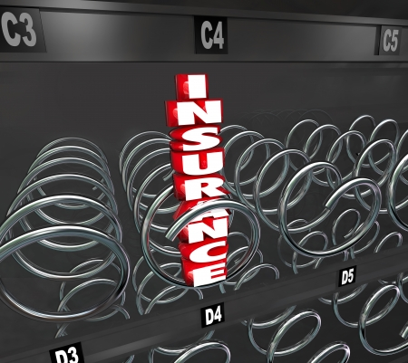 medical choice: Insurance 3d word in a vending machine to illustrate health care coverage and confusing choice in choosing a premium or plan for medical service