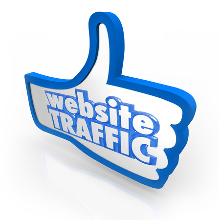 website words: Website Traffic words on blue thumbs up symbol to illustrate increasing online visitors, readership and reputation Stock Photo