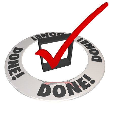 done: Done word and checkmark in a check box to illustrate finishing or completing a job, mission or task Stock Photo