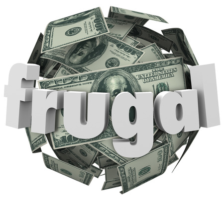 stingy: Frugal word in 3d letters on a ball or sphere of money such as hundred dollar bills to illustrate being cheap or stingy to reduce spending