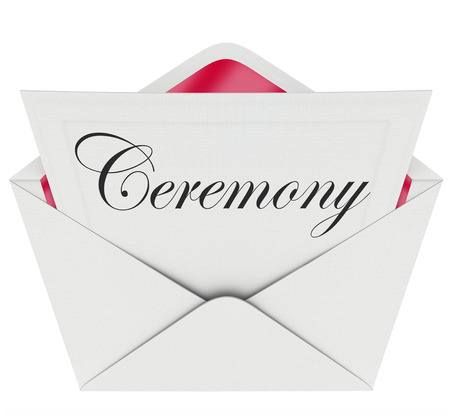 commemoration: Ceremony word on an invitation in an open envelope to illustrate the announcement of a special event, party, function or commemoration of a milestone or big happening