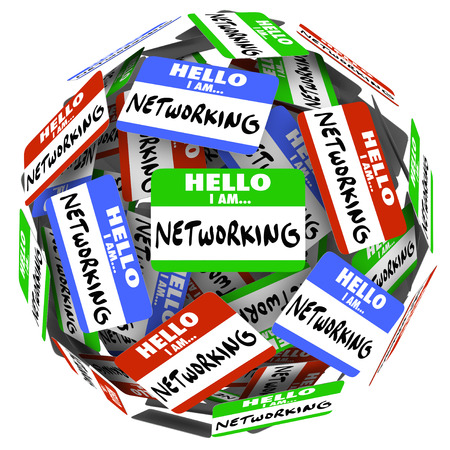 greet: Hello I Am Networking nametags and stickers in a ball or sphere to illustrate the value of meeting and greeting people in the hopes of getting a new opportunity for a job or career, or sales success Stock Photo