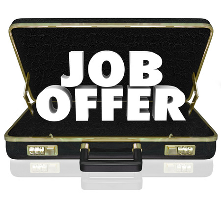 winning proposal: Job Offer 3d words in a black leather briefcase to illustrate a career opporunity by being offered a new job, assignment or contract