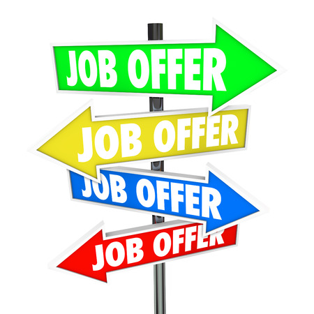 winning proposal: Job Offers on several arrow signs new career opportunities and work recruitment that you have to decide the best path for your future