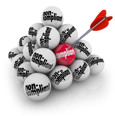 Bola Compliant en una pirámide de bolas marcadas Incumplimiento para ilustrar la orientación acciones a seguir las reglas, regulaciones y directrices y la limitación de la responsabilidad y riesgo Foto de archivo
