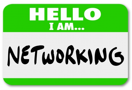 look for: Networking name tag sticker to wear when meeting people and making connections at a mixer, convention or other event where you could look for job and career prospects Stock Photo
