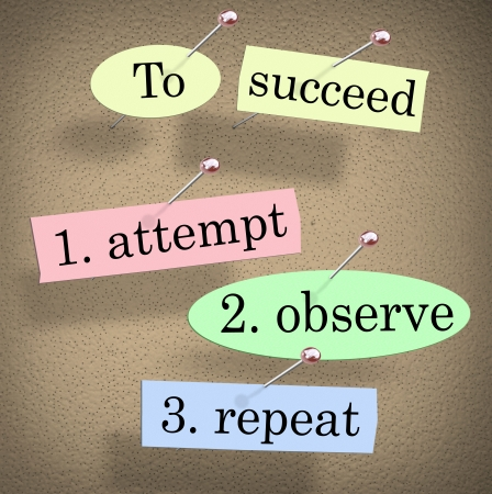 observation: To Succeed, Attempt, Observe and Repeat quote or saying pinned to a bulletin board with pushpins to illustrate determination and tireless effort to achieve success after much practice Stock Photo