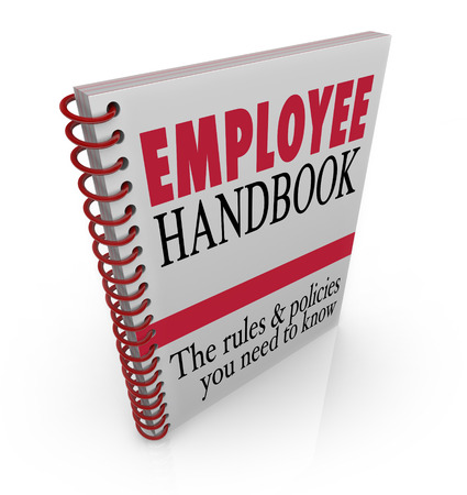 policies: Employee Handbook words on a book cover to illustrate policies, rules, code of conduct, guidelines or other important instructions or protocols to follow on the job at work Stock Photo