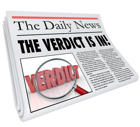 Het Verdict is in kop op een krant aan te kondigen of rapport het antwoord, vonnis of het vinden van een rechtszaak of een andere belangrijke beslissing