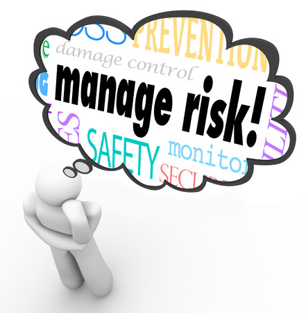 protecting your business: Manage Risk words in a thought cloud above a thinking person