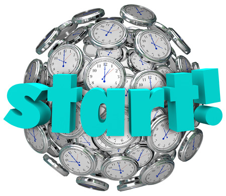 commencing: Start word on a sphere or ball of clocks Stock Photo
