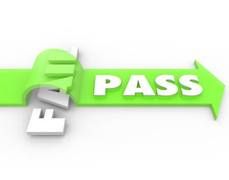 grading: Pass vs fail arrow over word