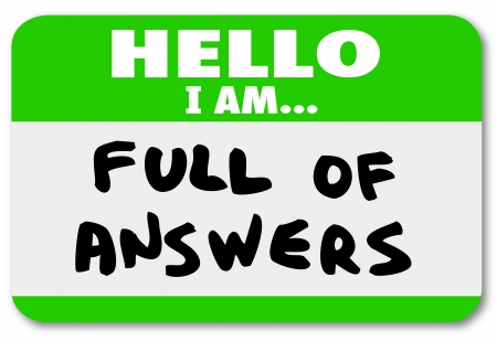 Hello I Am Full of Answers nametag sticker photo