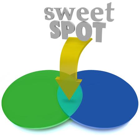 スイート スポット単語やベン図形型図表の 2 つの円の交差の重なり合う領域を指す矢印 写真素材