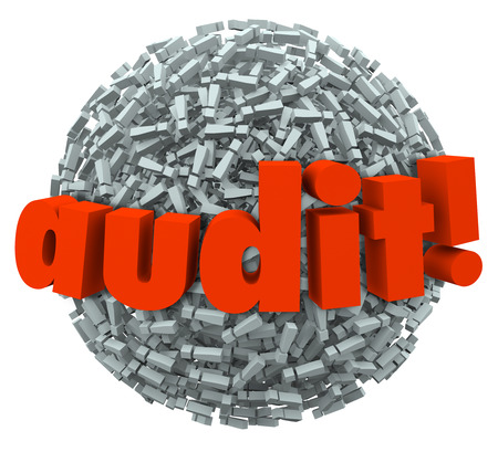 deductions: Audit word on a ball of exclamation points
