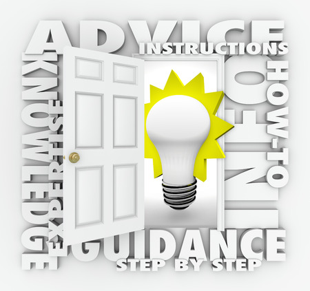 The words Advice, knowledge, expertise, guidance, how-to-info, step-by-step and instructions around an open door and light bulb photo