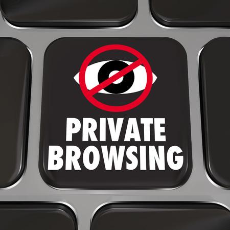 pornografia: Navegaci�n privada y un s�mbolo del ojo en una tecla del teclado del ordenador port�til del ordenador Foto de archivo