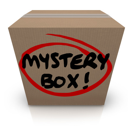 mailed: Mystery Box words on a cardboard package or shipment with mysterious contents and unknown things inside