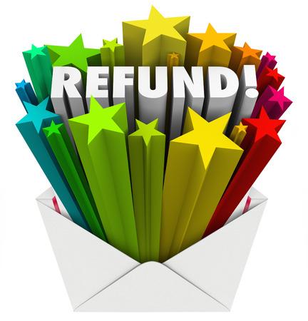 Refund word in an open envelope photo
