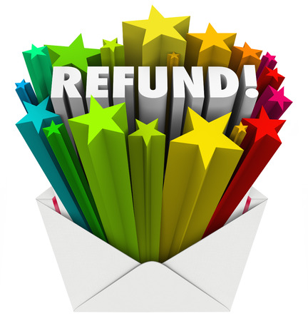 retour: Restitutie woord in een open envelop Stockfoto
