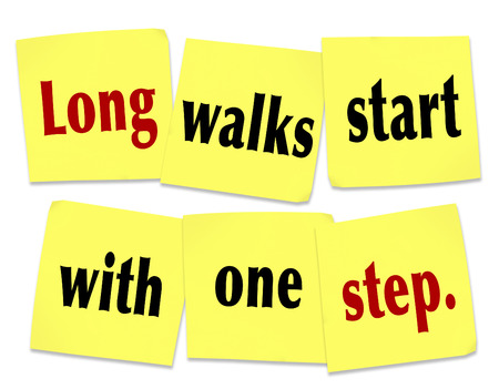 daunting: Long walks start with one step words on sticky notes