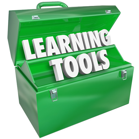 or instruction: Learning Tools 3d words and letters in a metal toolbox Stock Photo