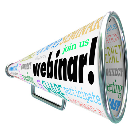 A bullhorn or megaphone with the word Webinar photo