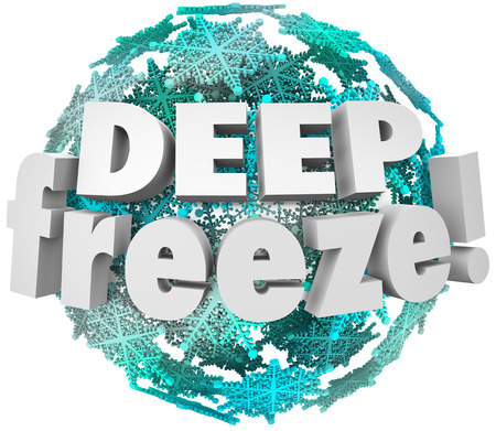 freeze: Deep Freeze 3d words on a ball of snowflakes