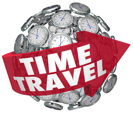 Time Travel words in a red arrow on a ball or sphere of clocks photo