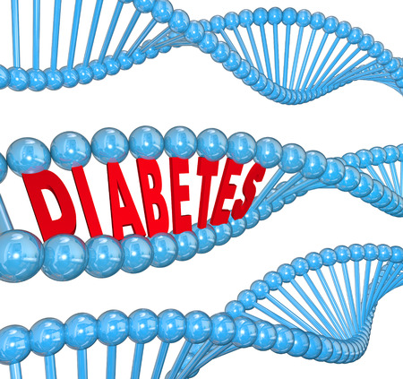 genetic: Diabetes word in a DNA strand