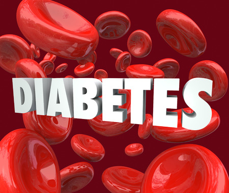 bloodcell: Diabetes word in 3d letters surrounded by red blood cells