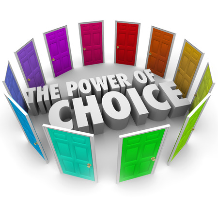 tasked: The power of choice words surrounded by many colored doors