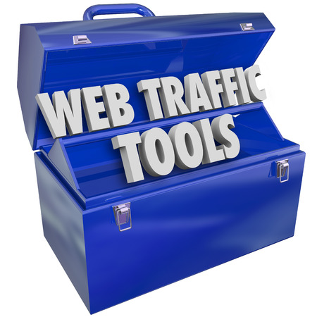 page rank: Web Traffic Tools words in a metal toolbox to illustrate helpful instructions and advice for boosting visitors, frequency, search optimization and reputation for your website online presence