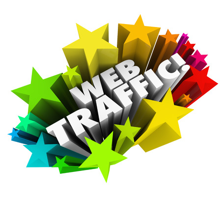 page rank: The words Web Traffic surrounded by stars to illustrate increasing your online reputation and search engine optimization to attract new visitors, readers and customers to your website