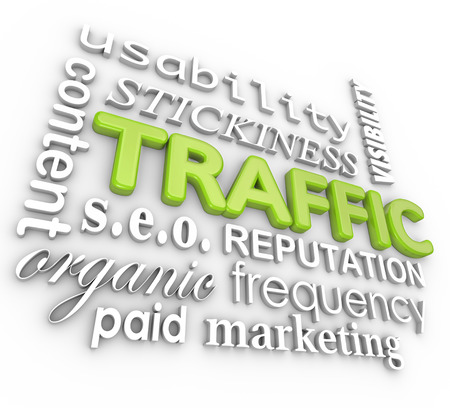 The word traffic surrounded by other terms related to building online or website visitor frequency, such as usability, content, organic, paid, marketing, stickiness and reputation  Stock Photo
