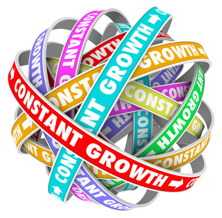 Constant Growth words on a jumbled ball of colored roads or paths to illustrate always getting better, improving and learning new skills and knowledge to succeed in school, job, career or life Imagens - 26005462