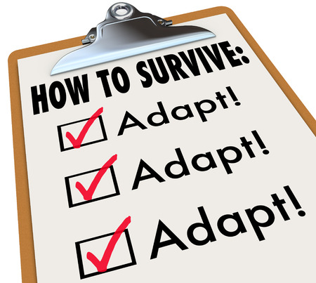 How to Survive words on a checklist clipboard to give instructions and advice on change, evolution and transition to get better and innovate to compete and win in life or career photo