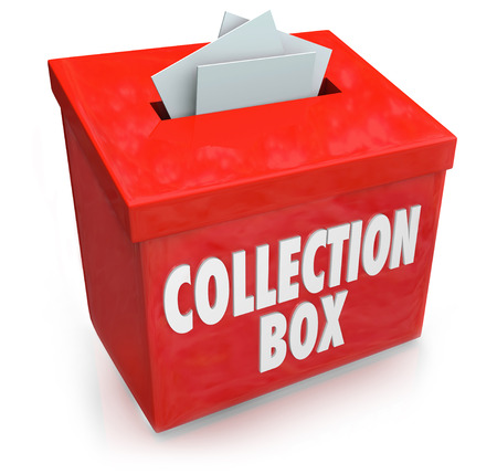 charity drive: Collection Box words on a container to collect money, donations and financial support from donors in a time of budget shortfall or need Stock Photo