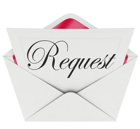 Demander mot sur une note ou une lettre dans une enveloppe ouverte pour illustrer demander de l'aide, le soutien, l'assistance ou de vous donner une tâche ou corvée pour compléter