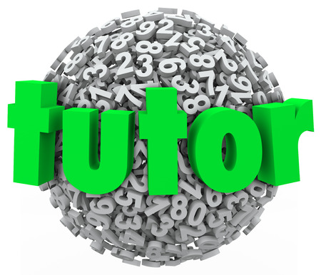 Tutor word on a ball or sphere of numbers to illustrate teaching, learning and private one on one lessons to learn subjects like math, algebra and science