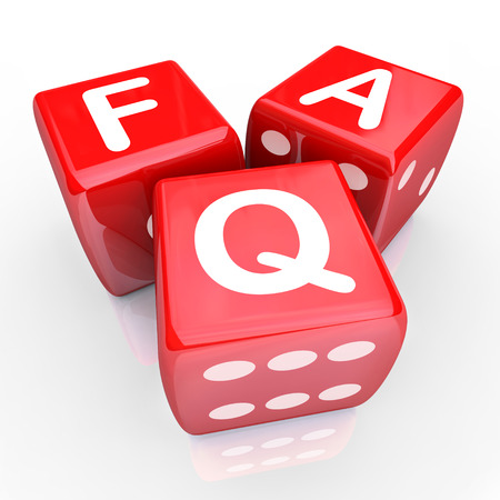 inquiries: FAQ Frequently Asked Questions letters on three red dice to illustrate answers to your common inquiries Stock Photo