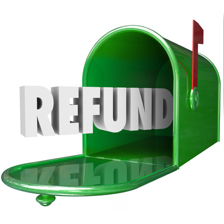 Refund word in green mailbox to illustrate receiving money back from tax payment or returned products via mail or delivery