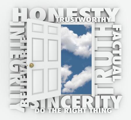 integridad: La honestidad, la integridad, creíbles, confiables, verdad y la sinceridad palabras 3d alrededor de una puerta para ilustrar el carácter respetable y buena reputación