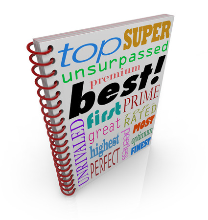 succeeding: Best word on cover and terms of praise and acclaim for a book, how-to guide or manual Stock Photo