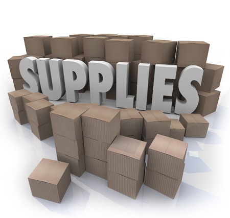 food industry: Supplies word in the middle of a stock room full of cardboard boxes containing food, materials, rations, reserves, and other needed resources
